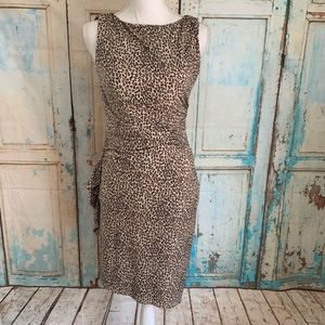 Betsey Johnson ruched cheetah print dress
